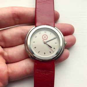 Classic Men's bulls eye target red leather watch